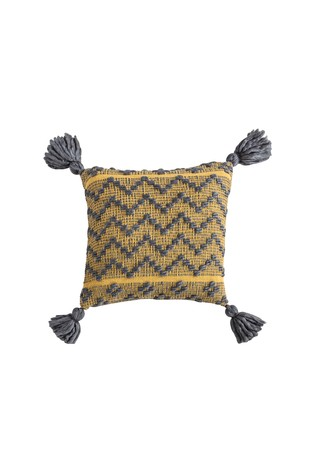 Gallery Direct Yellow Lattice Weave Zig Zag Tassel Cushion