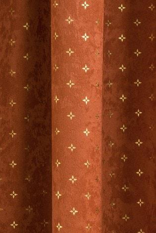 Enhanced Living Orange Gemini Metallic And Velvet Pencil Pleat Curtains