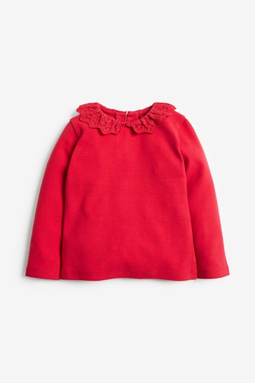 Red Brushed Broderie Collar Top (3mths-7yrs)