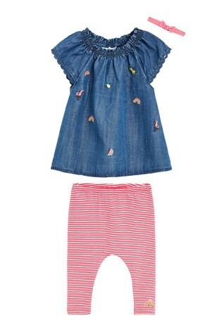 Denim Bunny T-Shirt, Leggings And Headband Set (0mths-3yrs)