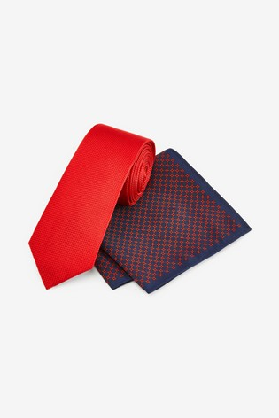 Red Tie With Geometric Pocket Square Set