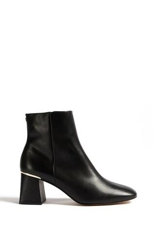 Ted Baker Black Squarel Ankle Heeled Boots