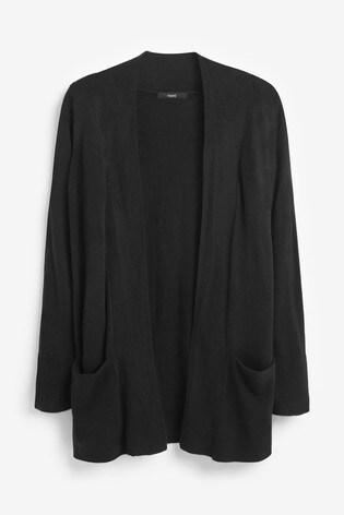 Black Cosy Pocket Cardigan