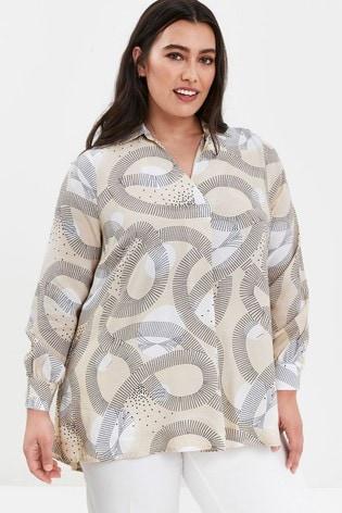 Evans Curve Beige Boutique Swirl Print Shirt