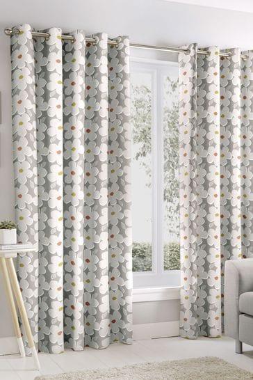 Fusion Aura Ditsy Floral Print Eyelet Curtains