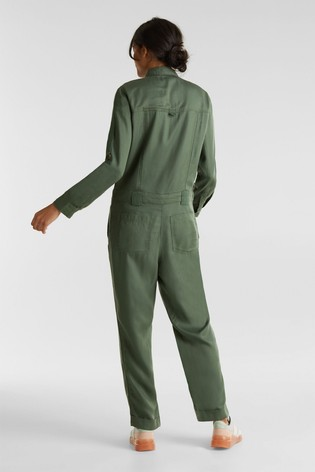 Esprit Green Jumpsuit Army Style With Pockets And Buckles