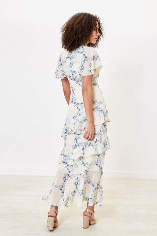 Oasis Blue Floral Ruffle Maxi Dress