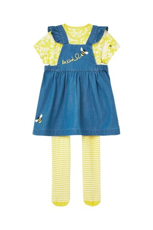 Joules Blue Marielle Woven Pinafore And Bodysuit Set