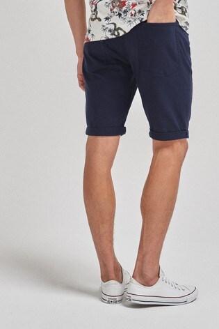 Navy Slim Fit 5 Pocket Chino Shorts