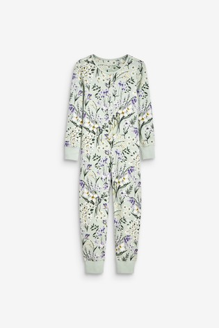 Mint Floral Jersey All-In-One With Poppers (3-16yrs)