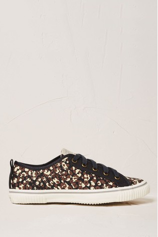 FatFace Brown Organic Leopard Lace-Up Trainers