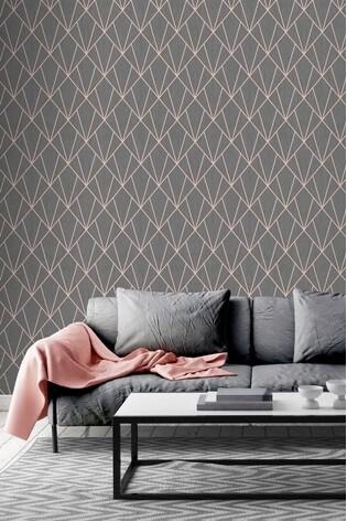 Muriva Indra Deco Metallic Geo Wallpaper
