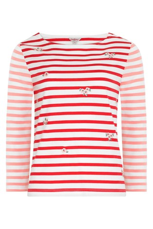 Cath Kidston® Cream Mayfield Blossom Embroidered Breton Top