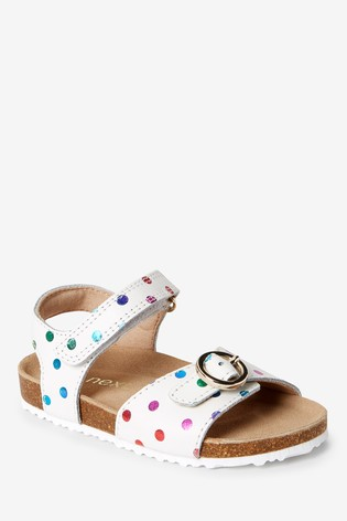 White Leather Standard Fit (F) Buckle Sandals (Younger)