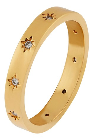 Accessorize Gold Sparkle Star Band Ring