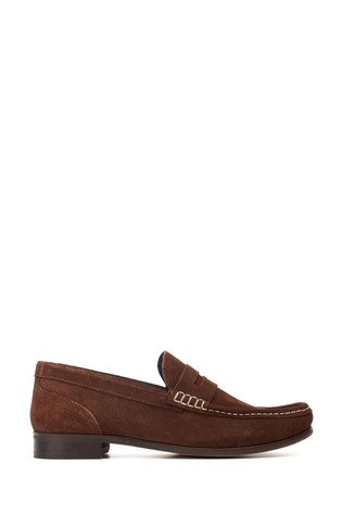 Base London® Brown Cassio Suede Slip-On Loafers