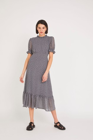 Finery Grey Camile Chiffon Midi Dress