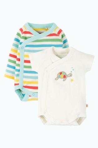 Frugi GOTS Organic And Short Sleeve Rainbow Bodysuits Two Pack