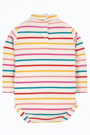 Frugi White Organic Cotton Roll Neck Striped Bodysuit