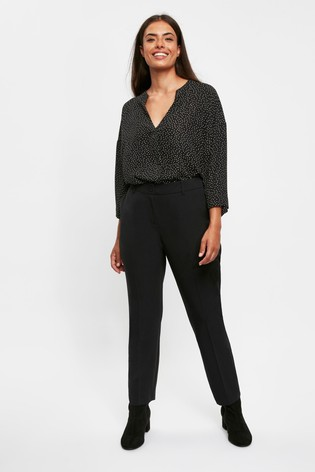 Evans Curve Black Workwear Tapered Trousers