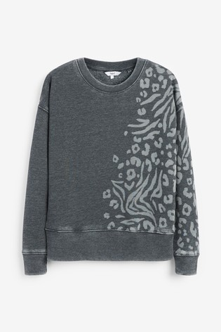 Charcoal Animal Print Graphic Sweatshirt