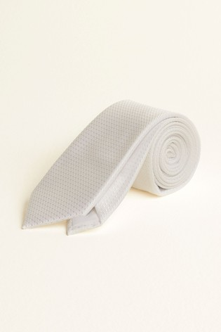 Moss London White Textured Tie