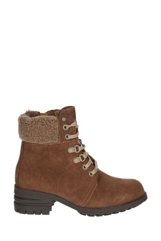 CAT® Lifestyle Brown Cora Faux Fur Lace-Up Boots