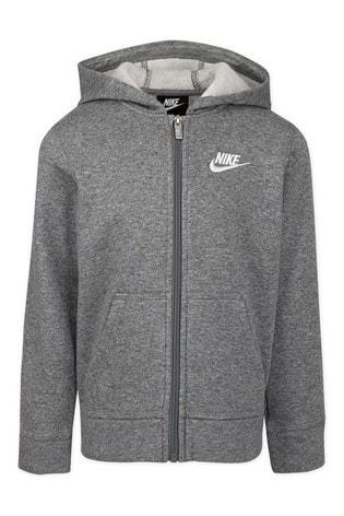 Nike Little Kids Grey Full Zip Club Fleece Hoodie