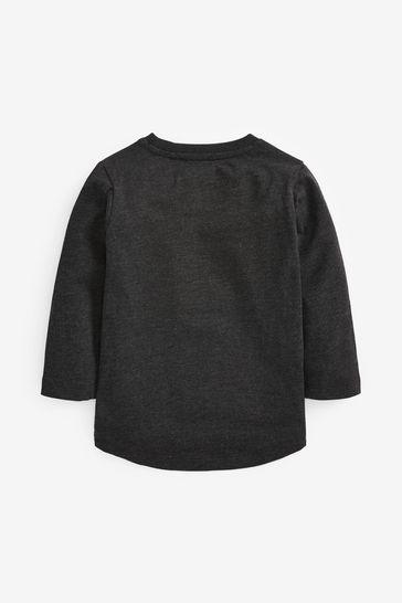 Charcoal Batman® Logo Jersey Long Sleeve T-Shirt (3mths-8yrs)