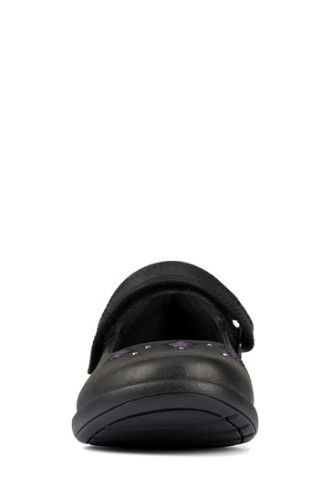 Clarks Black Leather Etch Bright KIds Shoes
