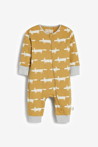 Ochre Scion Living Exclusively to Next Mr Fox Footless Sleepsuits Two Pack (0mths-3yrs)