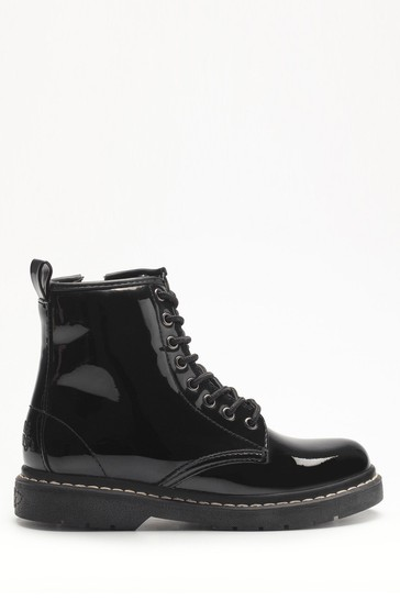 Lelli Kelly Black Patent Lace-Up Boots