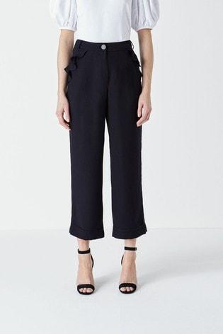 Finery Kellen Navy Frill Pocket Trousers