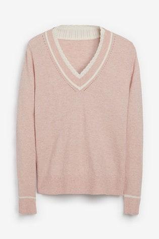 Pink Crochet Trim V-Neck Jumper