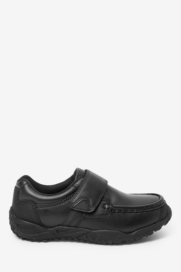 Black Extra wide (H) Leather Single Strap Shoes