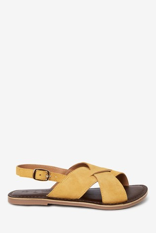 Ochre Leather Cross Strap Sandals (Older)