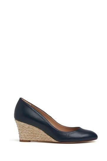 L.K.Bennett Blue Eevi Leather Wedges
