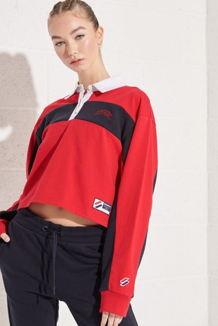 Superdry Red Sportstyle Dolman Rugby Top