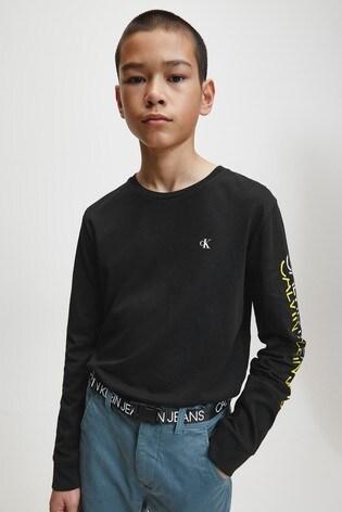 Calvin Klein Black Repeat Logo Long Sleeve T-Shirt