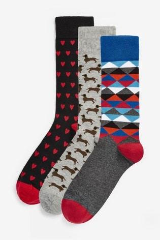 Happy Socks Black Dachshund Socks Three Pack