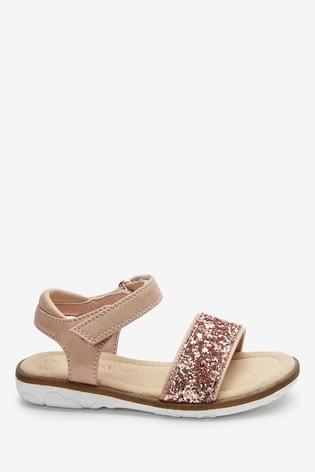 Rose Gold Glitter Occasion Sandals