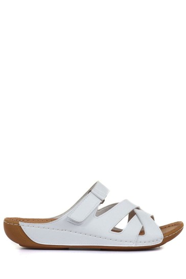 Pavers White Ladies Touch Fasten Mules