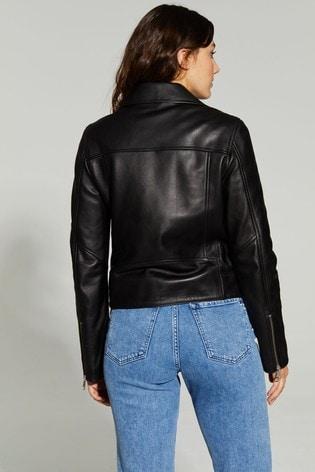 Tommy Hilfiger Black Leila Leather Biker Jacket