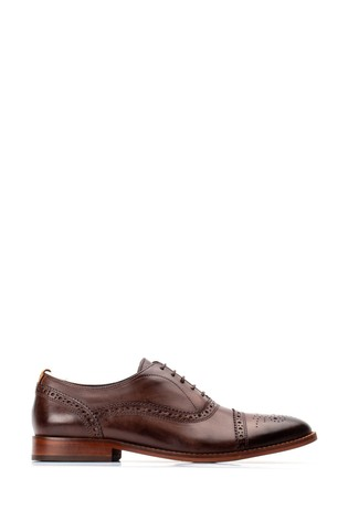 Base London® Brown Cast Washed Lace-Up Brogue Shoes