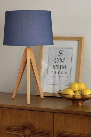 Village at Home Blue Wooden Tripod Table Lamp
