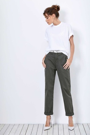 Mint Velvet Khaki Button Detail Chinos