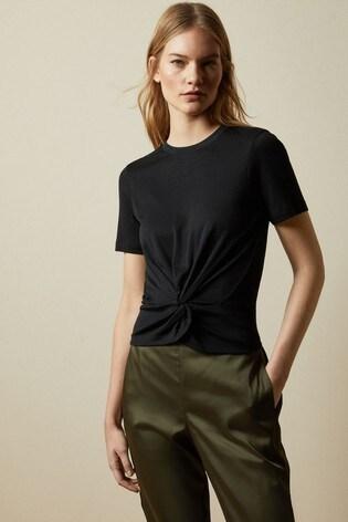 Ted Baker Black Harieyy Twist Detail T-Shirt