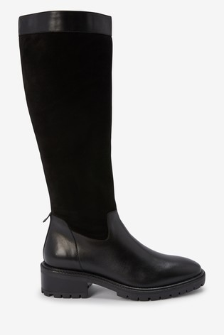 Black Signature Knee High Mixed Material Boots