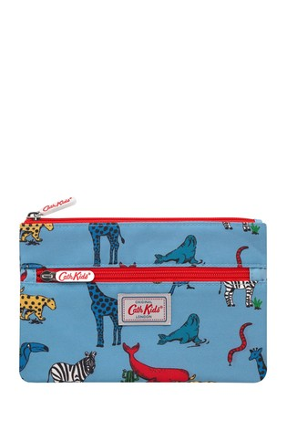 Cath Kidston Kids Grey Animals Double Zip Pencil Case