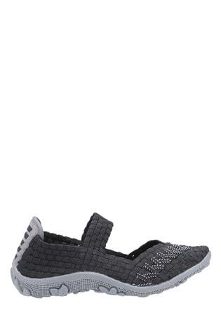 Fleet & Foster Black Freida Slip-On Summer Shoes